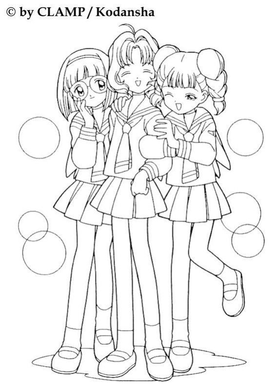 sakura chasseuse de cartes  (coloriage)